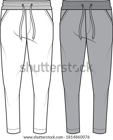 SWEAT PANTS FASHION FLAT SKETCHES technical drawings teck pack Illustrator vector template Stockfoto ©