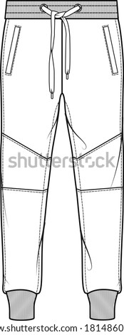 SWEAT PANTS FASHION FLAT SKETCHES technical drawings teck pack Illustrator vector template Photo stock ©