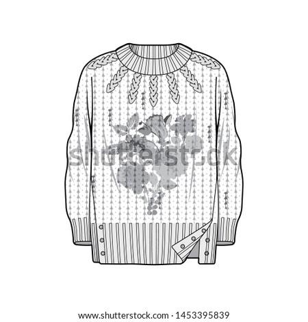Sweater fashion flat sketche template