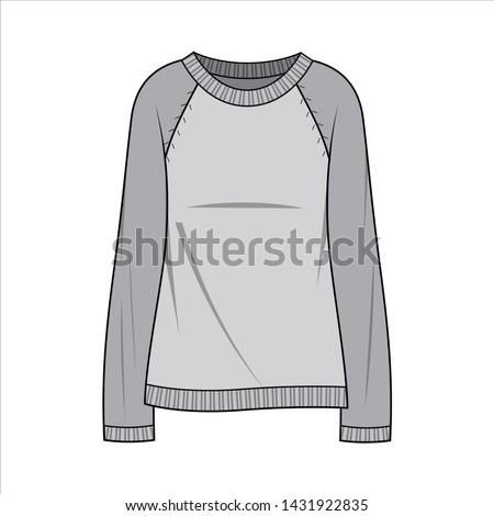 SWEATER TOP Fashion flat sketche