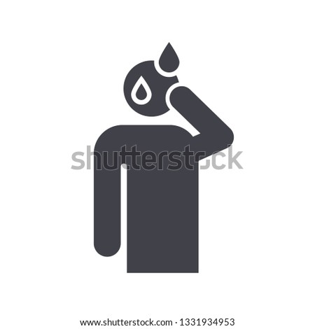Sweating man glyph icon. Silhouette symbol. Cold sweat. Worrying and nervous person. Anxiety and stress. Panic. Physiological stress symptoms. Negative space. Vector isolated illustration