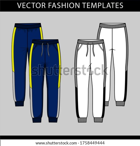 Sweatpants fashion.  Flat sketch Vector templates, jogging trousers, front and back Stockfoto ©