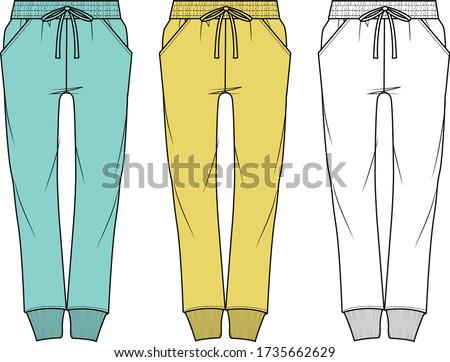 Sweatpants fashion flat sketches. Apparel template Stockfoto ©