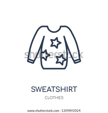 Sweatshirt icon. Sweatshirt linear symbol design from Clothes collection. Simple outline element vector illustration on white background.