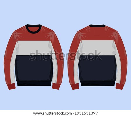 Sweatshirt Navy Red Grey color Block cut and sew vector Illustration Template.