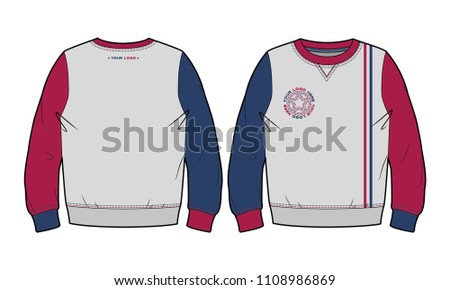 Sweatshirt with contrasting details (front and back view)