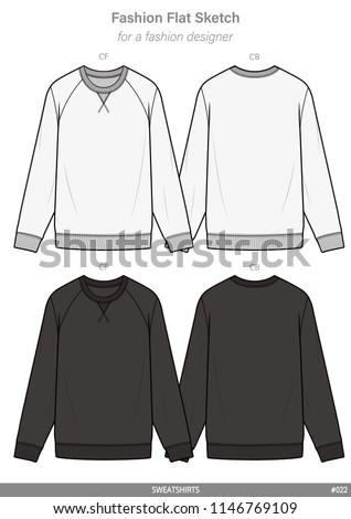SWEATSHIRTS FASHION FLAT SKETCHES technical drawings teck pack Illustrator vector template