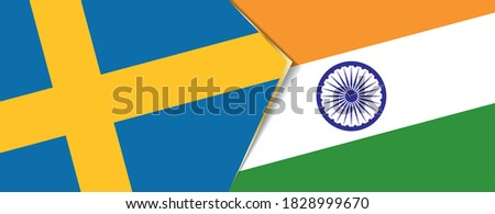 sweden and india flags  two