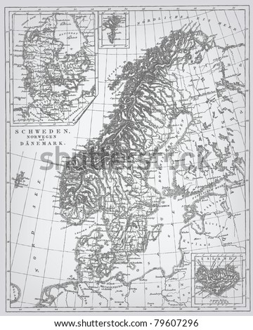 "Sweden and Norway, engraving vector map from ""The Complete encyclopedia of illustrations"" containing the original illustrations of The iconographic encyclopedia of science, literature and art, 1851."