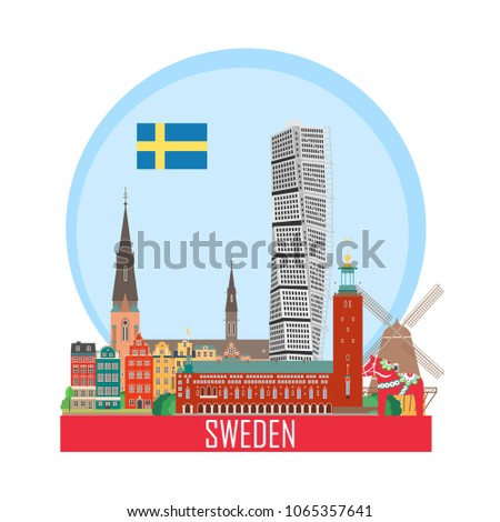 Sweden background with national attractions. Icon for travel agency. Vector illustration.