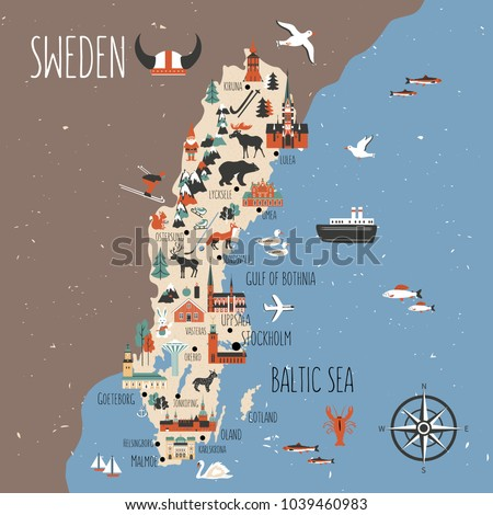 Sweden cartoon vector travel map, Swedish landmark flat building, City Hall of Stockholm, Synagogue of Malmoe, Water tower of Orebro, Church of Christina of Gotenborg, Uppsala Cathedral, Kalmar castle