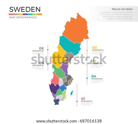 Free Sweden Map Infographic Vector Download Free Vector Art - Sweden map regions