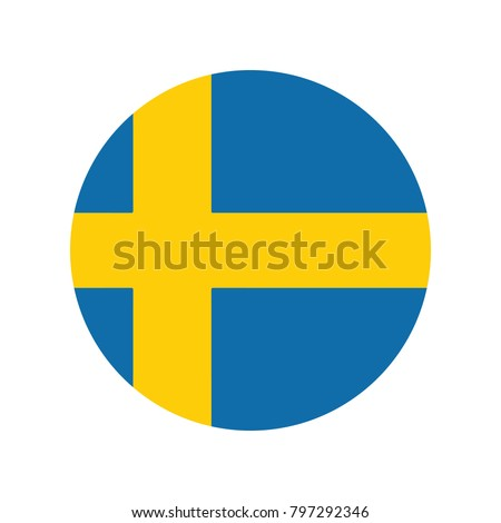 Sweden flag icon, Round sweden flag icon, Round sweden flag vector icon isolated, sweden flag button.
