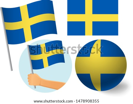 Sweden flag icon set. National flag of Sweden vector illustration