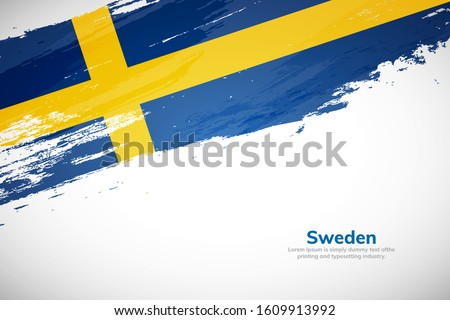 Sweden flag made in brush stroke background. National day of Sweden. Creative Sweden national country flag icon. Abstract painted grunge style brush flag background. Сток-фото ©