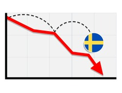 Sweden  flag with red arrow graph going down showing economy recession and shares fall. Crisis, Sweden  economy concept. For topics like global economy, Sweden  economy, banking, finance