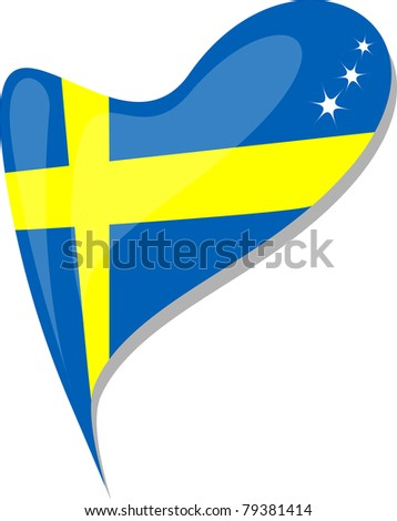 sweden in heart. Icon of sweden national flag. vector
