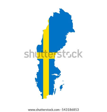 Sweden map and flag in white background