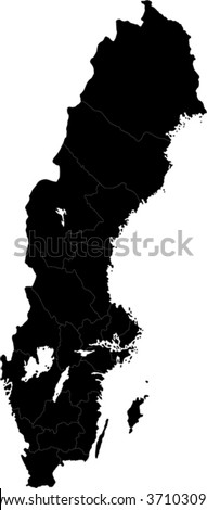 Sweden map designed in illustration with the provinces