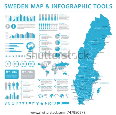 Sweden Map - Detailed Info Graphic Vector Illustration
