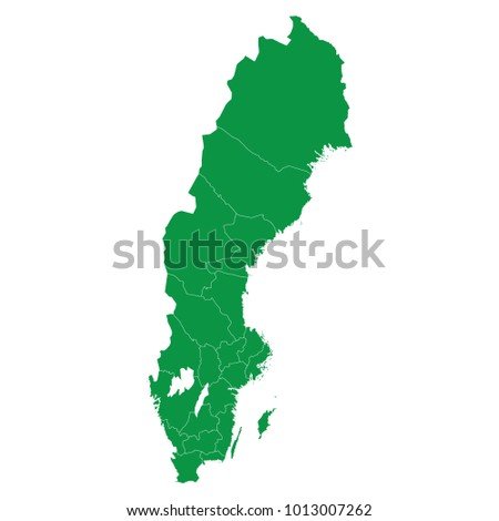Sweden map isolated on transparent background. high detailed Green map of Sweden. Vector illustration eps 10. Blank Green similar Sweden map isolated on white background.