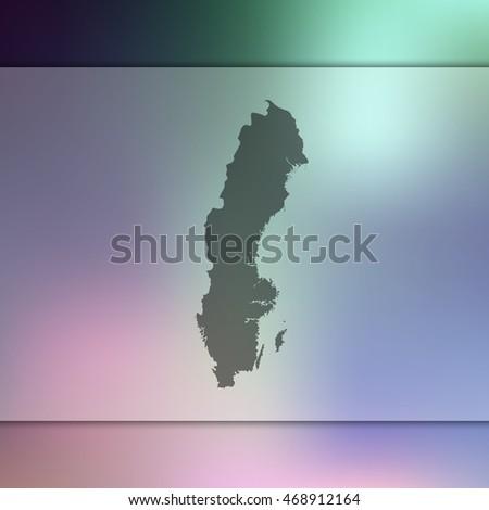 sweden map on blurred