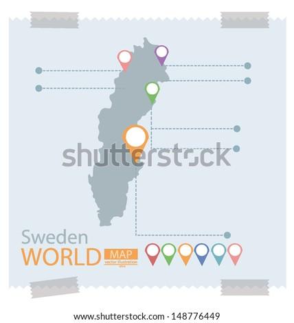 sweden map vector illustration