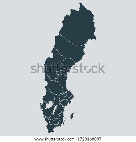 sweden map vector, isolated on gray background Сток-фото ©