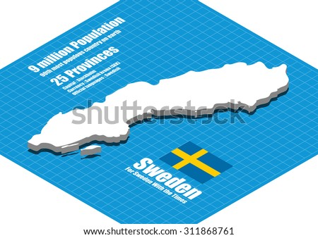 Sweden map vector three dimensional