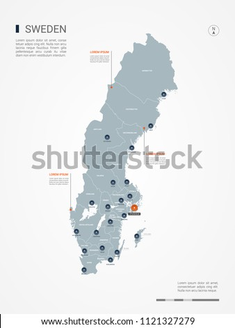 Sweden map with borders, cities, capital Stockholm and administrative divisions. Infographic vector map. Editable layers clearly labeled.