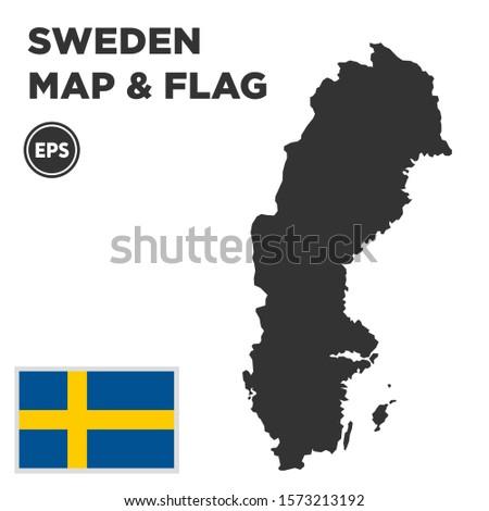 Sweden map with Sweden flag vector design