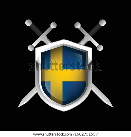 sweden metallic shield with two