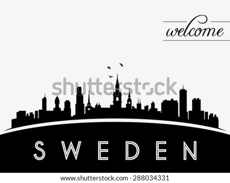 sweden skyline silhouette black