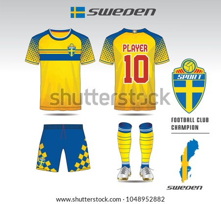 b59b530c711 Sweden soccer jersey or team apparel template. Mock up Football uniform for football  club.