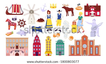 Sweden symbols set with Stockholm city buildings, sightseeings and landmarks, swedes people vector illustrations. Scandinavian culture, nordic ship, map and flag, travel souvenirs. Сток-фото ©