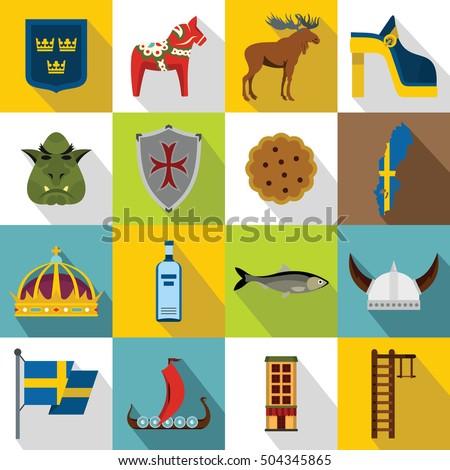 sweden travel icons set flat