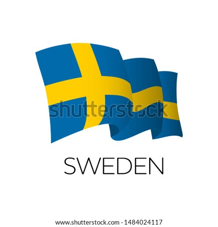 Sweden vector flag. Wavinf flag of Sweden. Stockholm