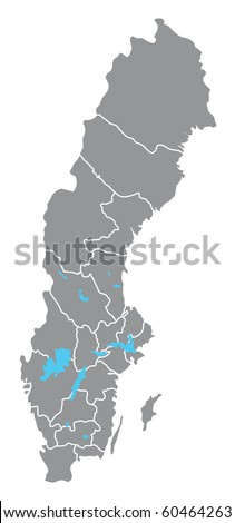 Sweden vector map hand drawn with counties on separate layers