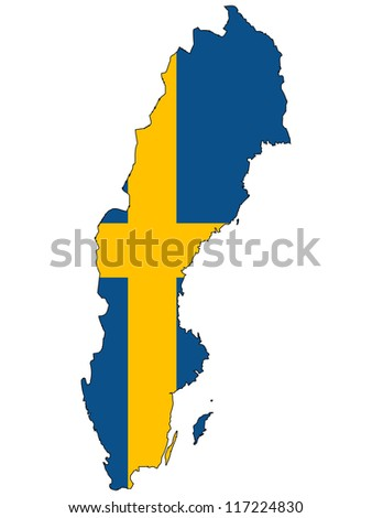 Sweden vector map with the flag inside.