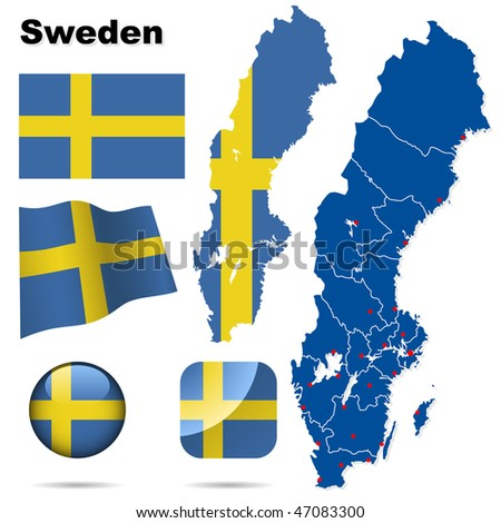 Sweden vector set. Detailed country shape with region borders, flags and icons isolated on white background.