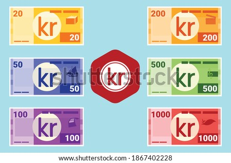 Swedish krona Banknotes in various value money vector icon logo and design. Sweden business, payment and finance element. Can be used for web, mobile, infographic, and print. Сток-фото ©