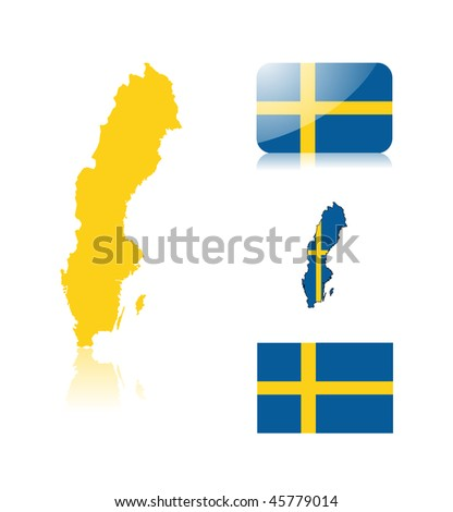 Swedish map including: map with reflection, map in flag colors, glossy and normal flag of Sweden.