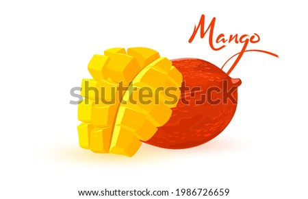 Sweet and healthy summer fruit, organic farm product, seasonal snack. Vector raw eating, mellow juicy exotic fruit, vitamins. Tropical fruit design isolated on white background Foto stock ©