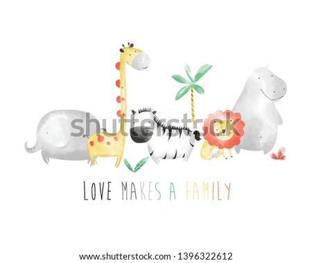 sweet animals family drawing