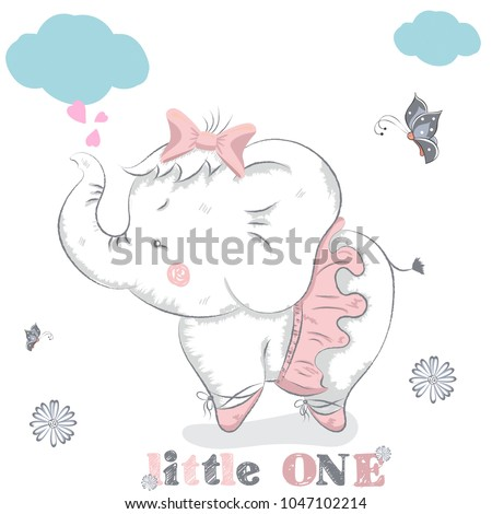 Stock Photo Sweet baby elephant . cartoon hand drawn vector illustration.  for baby t-shirt print, fashion print design, kids wear, baby shower celebration, greeting and invitation card.