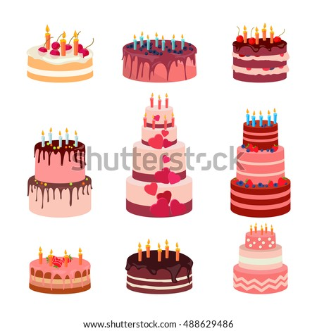 Sweet baked isolated cakes set. Strawberry icing cake for holiday, cupcake, baked brown chocolate cake gourmet, colorful celebration cherry cake bakery. Birthday cake with candles and fruits. Vector