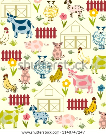 Sweet barnyard vector illustration, background or placement print. Nursery wall art.