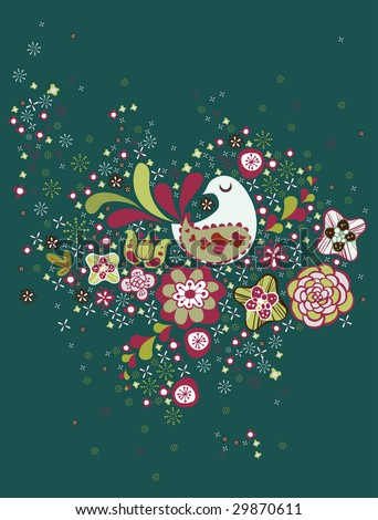 wallpaper design. stock vector : sweet bird wallpaper design