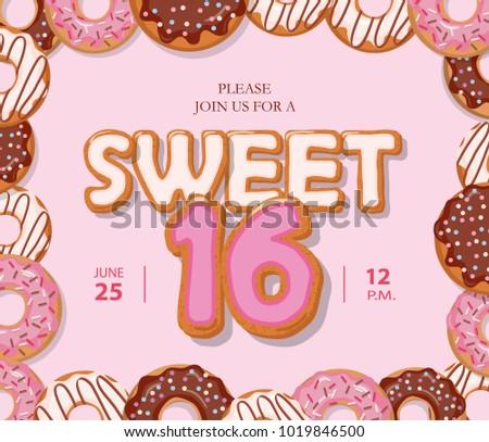 Vector Sweet Sixteen Card Download Free Vector Art Stock Graphics