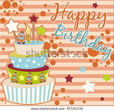Sweet Birthday Card With Cake - stock vector